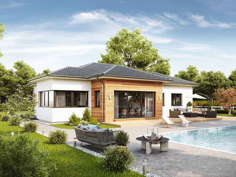Case prefabbricate in legno vario haus personalizzabili e for Piani casa bungalow con cantina e garage